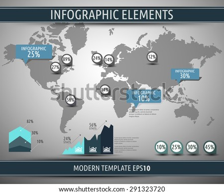 World map background. Modern elements of info graphics. World Map stock vector template - stock vector