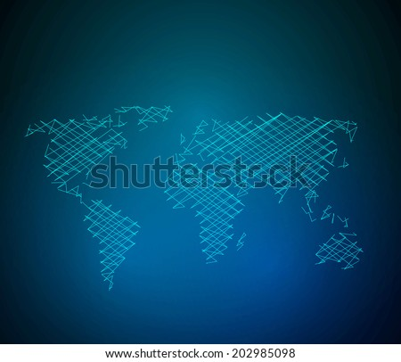 World map background wire style, easy all editable - stock vector