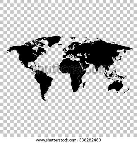 World map black colored silhouette  earth stylish - stock vector