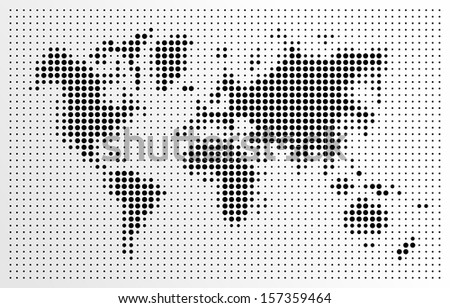 World map, black dots atlas composition. EPS10 vector file organized in layers for easy editing. - stock vector