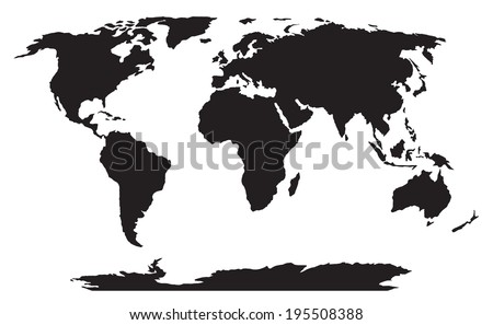 world map black silhouette vector - stock vector