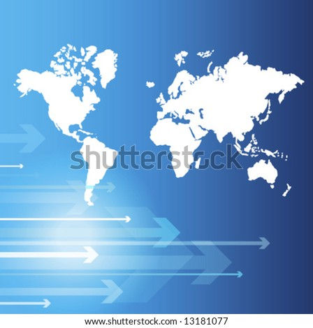 World map - Blue abstract background - trendy business website  template with copy space  - stock vector