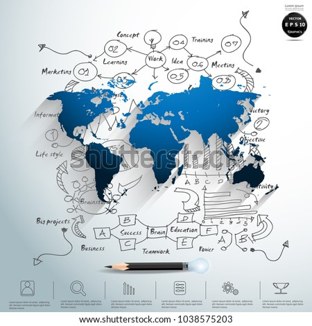 World map blue background plan business stock vector 1038575203 world map blue background plan business with pencil and icon modern idea and concept gumiabroncs Images