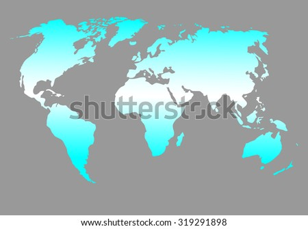 World map blue. Global design geography, ball and travel, vector graphic illustration