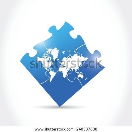 world map blue puzzle illustration design over a white background - stock vector