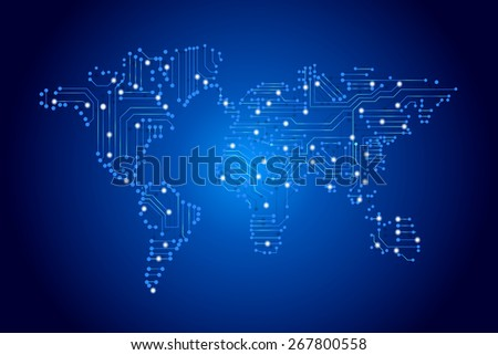 world map by circuit board - technology concept - stock vector
