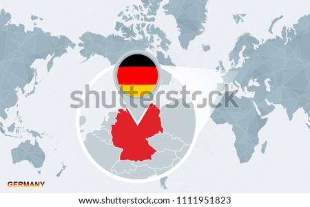 World map centered on america magnified vector de stock1111951823 world map centered on america with magnified germany blue flag and map of germany gumiabroncs Image collections