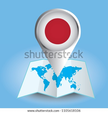 World map centered on asia magnified stock vector 1105618106 world map centered on asia with magnified japan blue flag and map of japan gumiabroncs Image collections