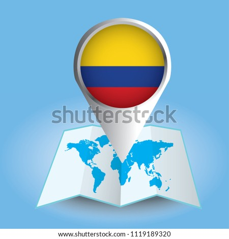 World map centered on south america stock vector royalty free world map centered on south america with magnified colombia blue flag and map of colombia gumiabroncs Gallery