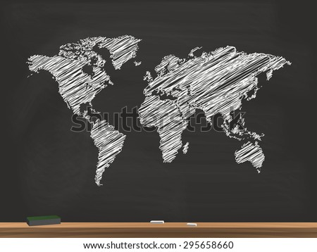 World Map Chalkboard Illustration - stock vector