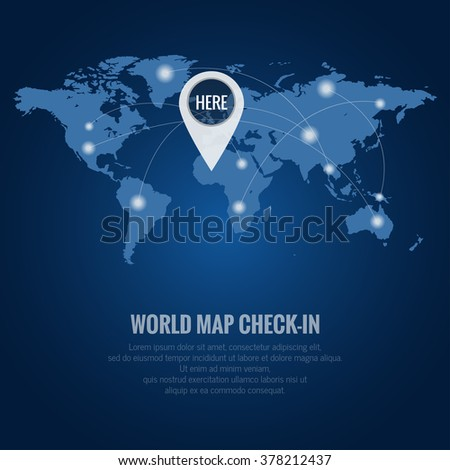 World map check in, Elements of this image furnished by NASA