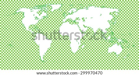World Map Checkered Green 1 Big Squares - stock vector