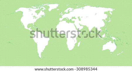 World Map Checkered Green 3 Small Squares - stock vector