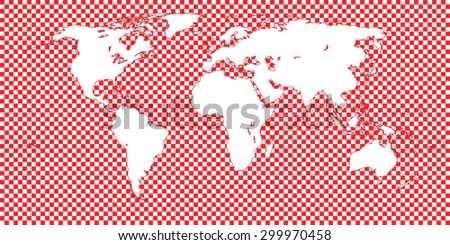 World Map Checkered Red 1 Big Squares - stock vector