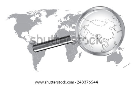 World Map China, India Wired Outline Countrie with Magnifier Glass - stock vector