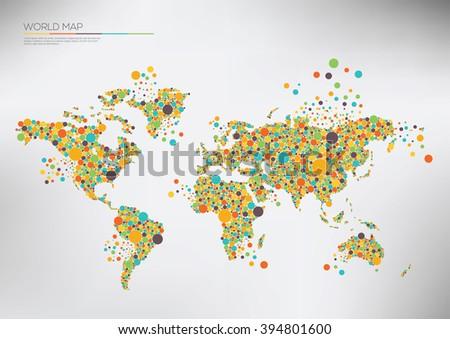 World map circles falling apart. Vector illustration Infographic  - stock vector