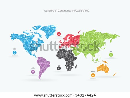 World map circles.Vector illustration Infographic  - stock vector