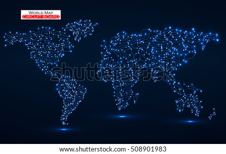 World map circuit board technology background stock vector hd world map circuit board technology background vector illustration eps 10 gumiabroncs Choice Image