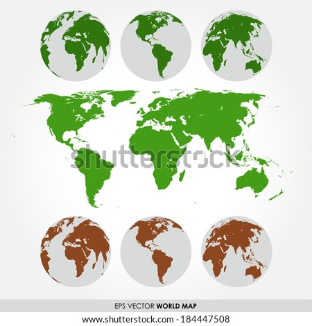 World map collection with flat detailed world map and world maps on the globes - stock vector