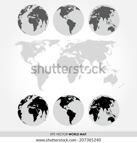 World map collection with flat world map and different continent maps on the globes