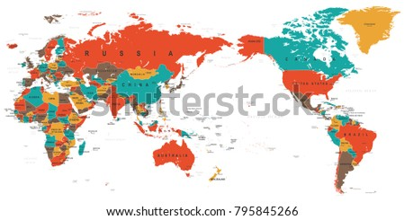 World map color detailed asia center vectores en stock 795845266 world map color detailed asia in center vector gumiabroncs Choice Image