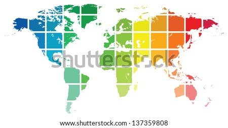 World Map Color Guide Isolated On White - stock vector