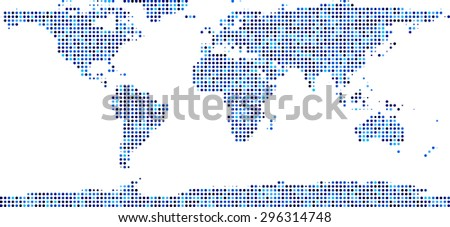 World map composed of blue dots. Vector illustration. - stock vector