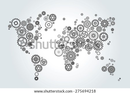 world map composed of gears, wheels black on gradient background - stock vector