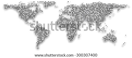 World map composed of grey dots. Vector illustration. - stock vector