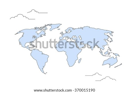 World Map Concept Doodle Thin Line Vector Illustration - stock vector