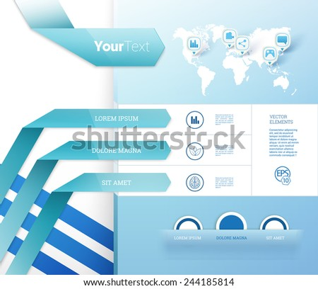 World Map Concept Vector Graphics For International Traveling Subject. Scalable EPS10 Layout Template With  Sample Icon Set. - stock vector