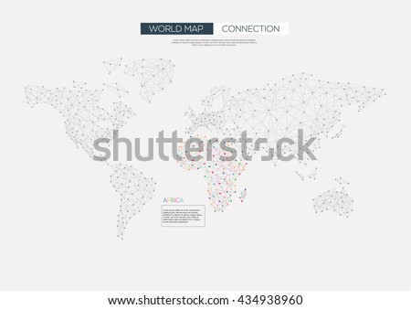 World map connection Africa color data. Vector illustration