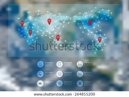 World map connection with blurred earth globe background, Vector illustration modern template design. Elements of this image furnished by NASA - stock vector