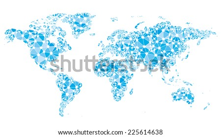 World map consisting of nodes linked by lines isolated on white. Eps8. CMYK. Organized by layers. Global colors. Gradients free. - stock vector