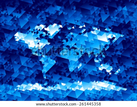 World map consisting of triangles. Eps8. RGB. Organized by layers. Global colors. All the triangles are filled with the same gradient - stock vector