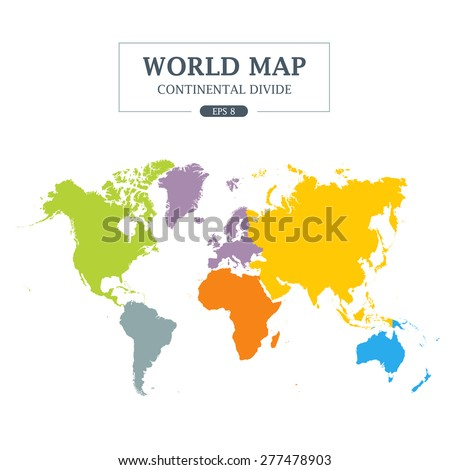 World map continental divide full color stock vector 277478903 world map continental divide full color vector illustration gumiabroncs Gallery