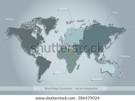 world map. continents. blue. vector. Individual separate continents. Europe map. Asia map. Africa map. America map. Australia map. Oceania map. individual map. Map icon. Map vector. Continent map. - stock vector
