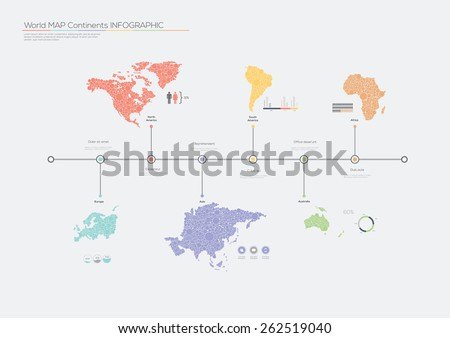 World map continents infographics. Vector illustration  - stock vector