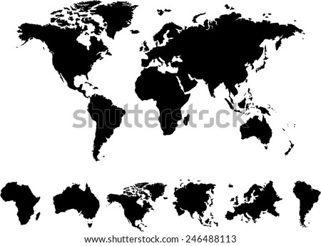 World map 6 continents vector on vectores en stock 246488113 world map 6 continents vector on white background gumiabroncs Image collections