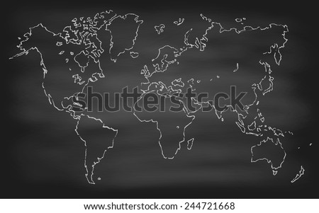 World map contour vector illustration on chalkboard (blackboard), hand drawn - stock vector