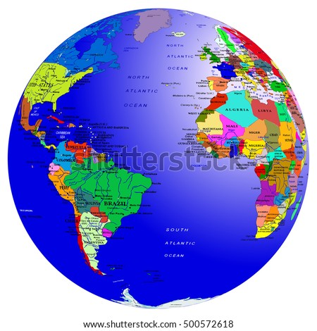 World map countries globe planet earth vectores en stock 500572618 world map countries globe planet earth atlantic ocean vector isolated on white gumiabroncs Gallery