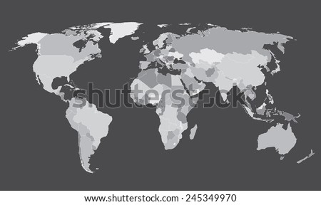 World map countries Gray - stock vector