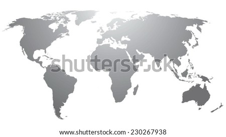 World map countries gray gradient - stock vector