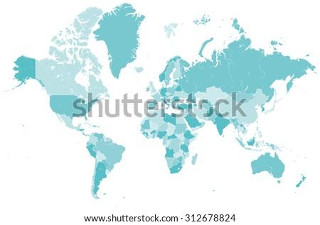 world map countries vector - stock vector