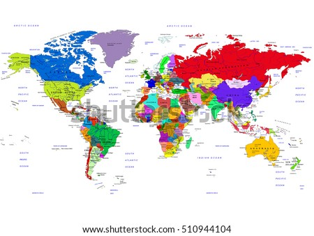 World map with country names stock images royalty free images world map countries vector illustration the names of countries and cities are on separate gumiabroncs Choice Image
