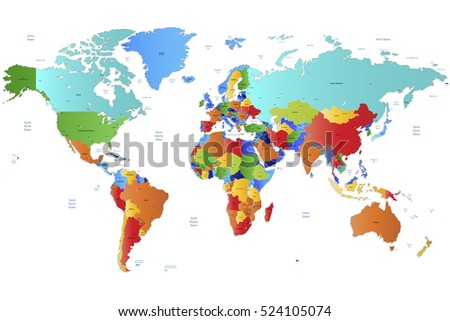 World map-countries vector on white background.