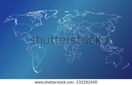 World map countries white outline blue gradient EPS10 vector - stock vector