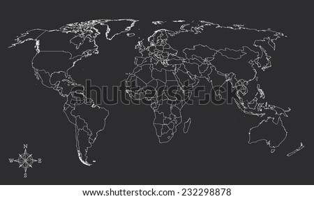 World map countries white outline gray with north arrow EPS10 vector - stock vector