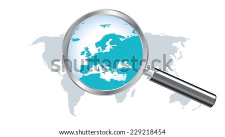 World map countries with Europe magnified by loupe - stock vector