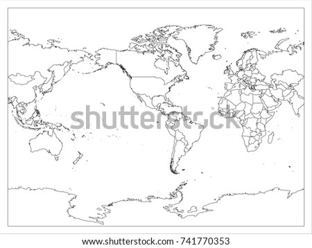 World map country border outline on stock vector 741770353 world map country border outline on white background america centered map of world vector gumiabroncs Choice Image